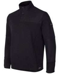 Greg Norman For Tasso Elba Men's Quarter Snap Hydrotech Colorblocked Jacket Only At Macy's Deep Black