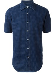Canali Textured Short Sleeve Button Down Shirt Blue