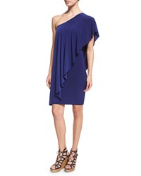 Norma Kamali Circle One Shoulder Draped Dress Blueberry Women's