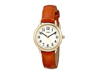 Timex Easy Reader Croco Pattern Leather Strap Watch Honey Brown Gold Tone Cream Watches