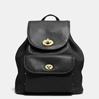 Coach Mini Turnlock Rucksack In Pebble Leather Light Gold Black