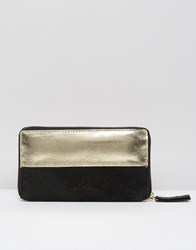 Urbancode Leather Purse With Metallic Panel Black Gold