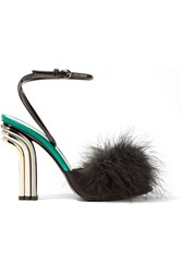 Marco De Vincenzo Feather Embellished Satin And Patent Leather Sandals Black