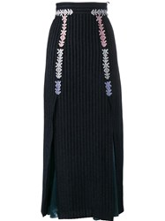 Peter Pilotto Velvet Stripe Midi Skirt Blue