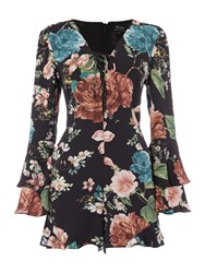 Bardot Long Sleeved Floral Lace Up Detail Playsuit Multi Coloured