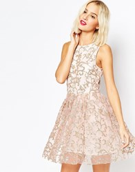 Asos Sparkle Mesh Glitter Mini Prom Dress Nude
