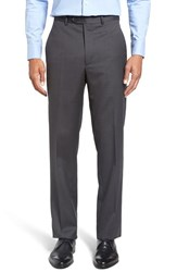 Santorelli Men's Big And Tall Flat Front Solid Wool Trousers Charcoal