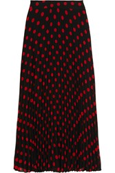 Mcq By Alexander Mcqueen Polka Dot Pleated Crepe Skirt Black Red