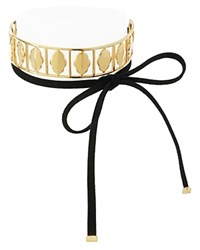 Charm And Chain Tie Collar Necklace Black Gold