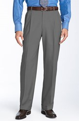 Men's Big And Tall Ballin Double Reverse Pleated Wool Twill Trousers Pearl Grey