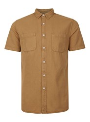 Topman Brown Tobacco Twill Short Sleeve Casual Shirt