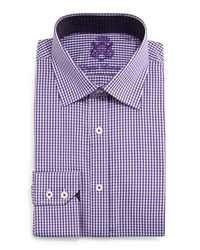 English Laundry Mini Check Woven Dress Shirt Purple