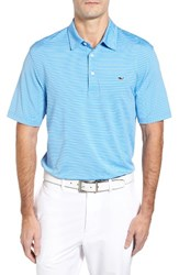 Vineyard Vines Men's 'Wilson' Stripe Jersey Polo Ocean Breeze Blue