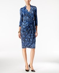 Inc International Concepts Petite Printed Wrap Dress Only At Macy's Navy Snake