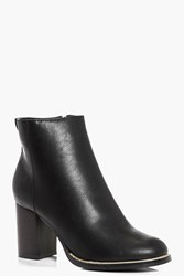 Boohoo Detailed Rim Ankle Boot Black