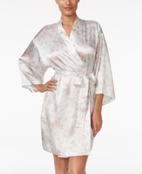 Thalia Sodi Printed Satin Wrap Robe Only At Macy's Ivory Floral
