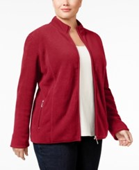 Karen Scott Plus Size Fleece Jacket Only At Macy's New Red Amore