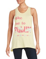 Junk Food Text Graphic Tank Top Yellow