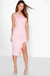 Boohoo Frill One Shoulder Wrap Skirt Midi Dress Blush