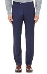 Isaia Twill Gregory Trousers Blue