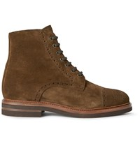 Brunello Cucinelli Suede Brogue Boots Brown