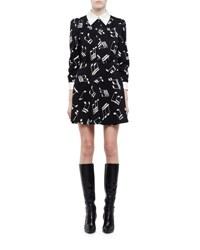 Saint Laurent Music Note Print Long Sleeve Shirtdress Black White