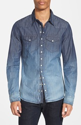 Rogue Slim Fit Ombre Wash Moto Western Shirt Bleach Blue