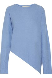 Stella Mccartney Asymmetric Cashmere And Silk Blend Sweater Blue