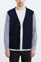 Shades Of Grey By Micah Cohen Woven Sleeve Cardigan Navy