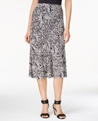 Jm Collection Petite Printed A Line Jacquard Skirt Only At Macy's Deep Black