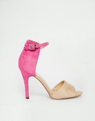 Paper Dolls Ankle Strap Heeled Sandals Cream