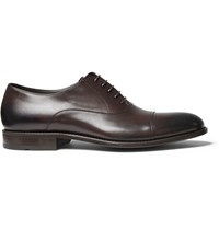 Hugo Boss Stockholm Cap Toe Burnished Leather Oxford Shoes Brown