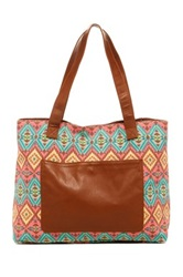 T Shirt And Jeans Diamond Printed Tote Orange