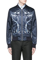 Alexander Mcqueen Bird And Tree Embroidery Satin Bomber Jacket Blue