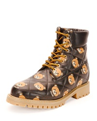 Leather Teddy Bear Hiking Boot Multi Black Moschino