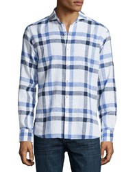 Neiman Marcus Plaid Long Sleeve Sport Shirt Blue Night
