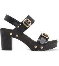 Dune Icon Leather Double Buckle Sandals Black Leather