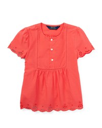 Ralph Lauren Childrenswear Short Sleeve Cotton Batiste Top Orange Size 5 6X Girl's Size 6