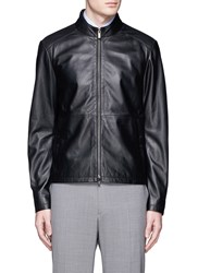 Armani Collezioni Lambskin Leather Blouson Jacket Black