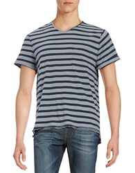 Calvin Klein Jeans Striped V Neck Short Sleeve Tee Scorched