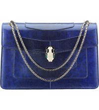 Bulgari Serpenti Forever Snakeskin Shoulder Bag Royal Sapphire