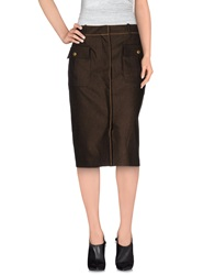 Salvatore Ferragamo Knee Length Skirts Dark Brown