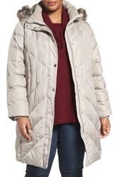 London Fog Plus Size Women's Quilted Coat With Faux Fur Trim Pearl