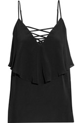 Bailey 44 Indian Ocean Cutout Silk Crepe Top Black
