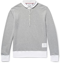 Thom Browne Contrast Trimmed Penny Collar Cotton Pique Polo Shirt Gray