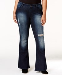 Poetic Justice Trendy Plus Size Ripped Flare Jeans Blue