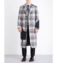 Thom Browne Single Breasted Check Print Wool Coat Med Grey
