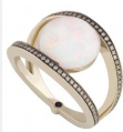 Noor Fares Geometry 101 Opal Rhombus Ring In Grey Black Gold And White Diamonds