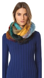 Jocelyn Knitted Infinity Fur Scarf Multi Degrade