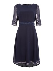 Elise Ryan 3 4 Sleeve Lace Back Skater Dress Navy